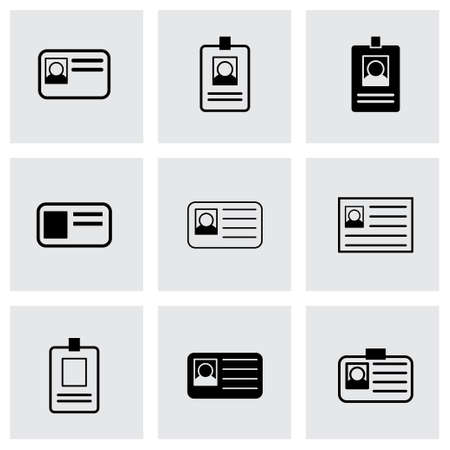 contact details: id card icon set on grey background