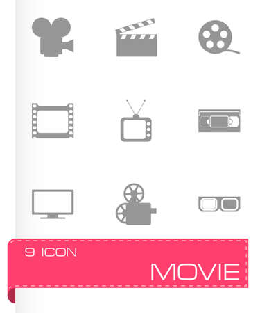 movie screen: movie icon set on grey background Illustration