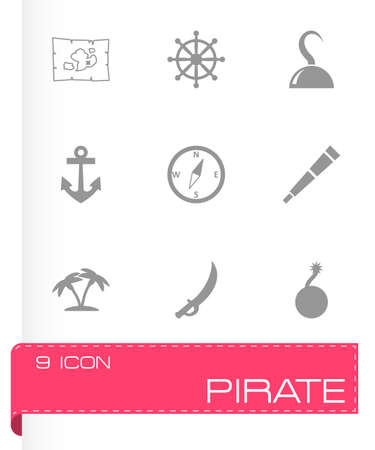 pirate icon set on grey background Vector
