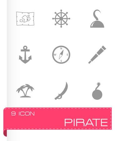 pirate icon set on grey background Illustration
