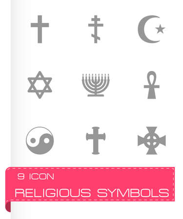 noahs: religious symbols icon set on grey background Illustration
