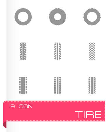 low tire: tire icon set on grey background