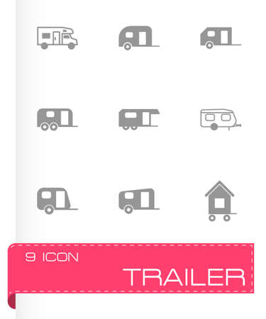 trailer icon set on grey background Vector