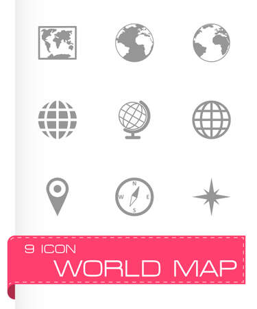world map icon set on grey background Vector