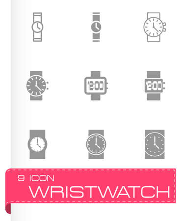 Vector wristwatch icon set on grey background Vector
