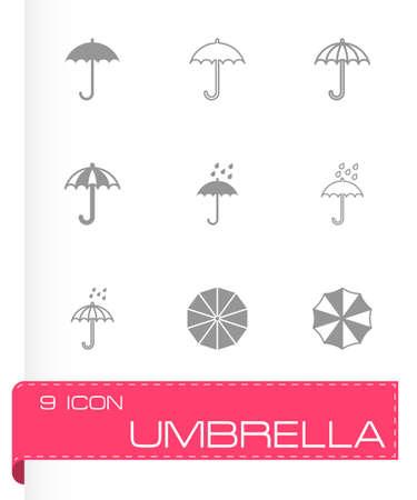 beach closed: umbrella icon set on grey background
