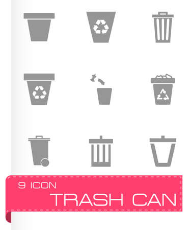 trashing: trash can icon set on grey background