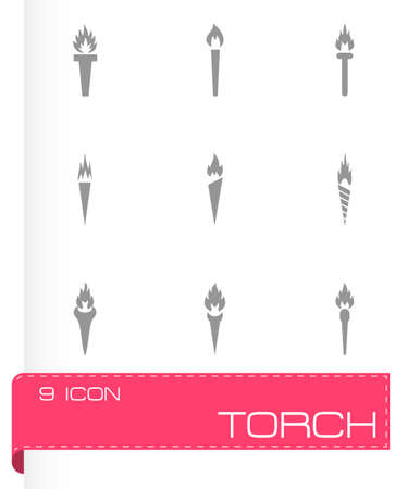 torch icon set on grey background Vector