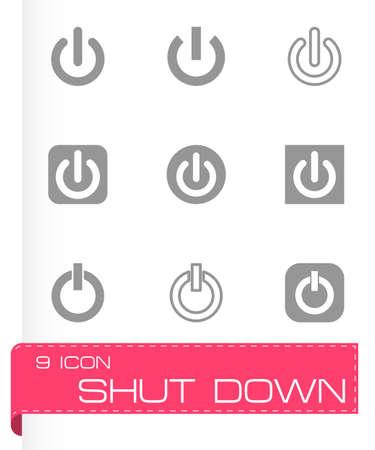 shut: Vector shut down icon set on grey background