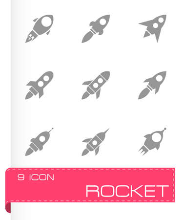 Vector rocket icon set on grey background Vector