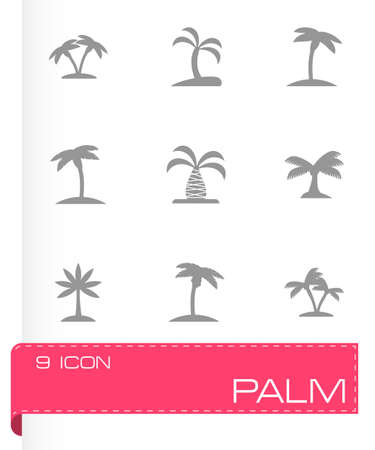 palm icon set on grey background Vector