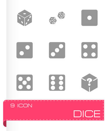 Vector dice icon set on grey background Vector