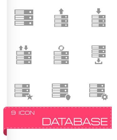 database icon set on grey background Vector