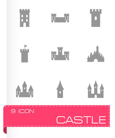 castle icon set on grey background Vector