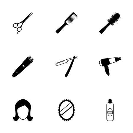 Vector black barber icons set on white background