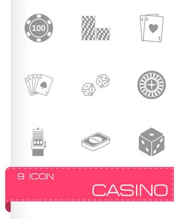 wheel of fortune: black casino icons set on white background
