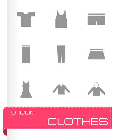 black clothes eyes icons set on white background Vector