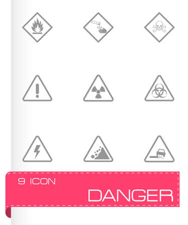 explosion risk: black danger icons set on white background Illustration