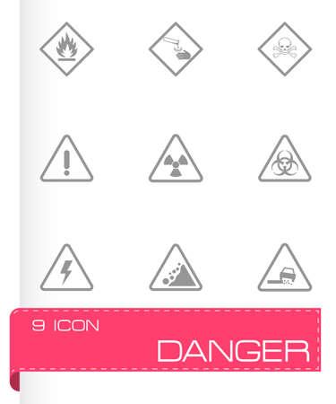 black danger icons set on white background Illustration