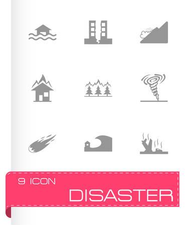 hurricane disaster: black disaster icons set on white background