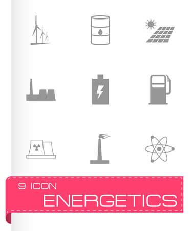 energetics: black energetics icons set on grey background