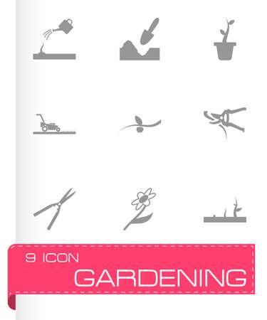 gardening hose: black gardening icons set on white background Illustration