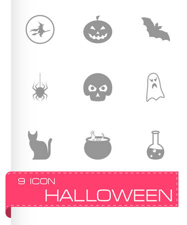 black halloween icons set on white background