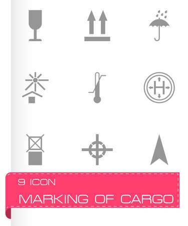marking: black marking of cargo icons set on white background