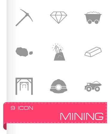 mining icons: black mining icons set on white background
