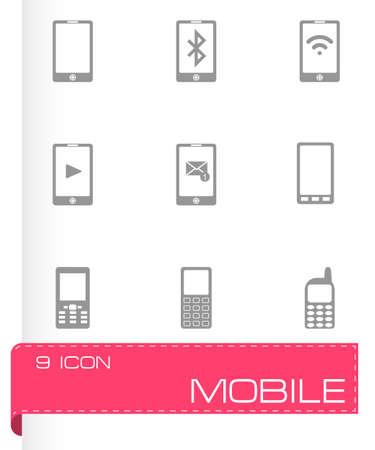 cell phone transmitter tower: black mobile icons set on white background Illustration