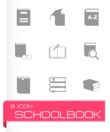 schoolbook: schoolbook icon set on grey background