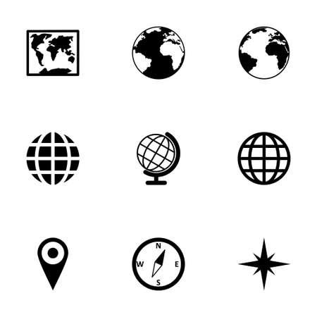 world map icon set on white background Vector