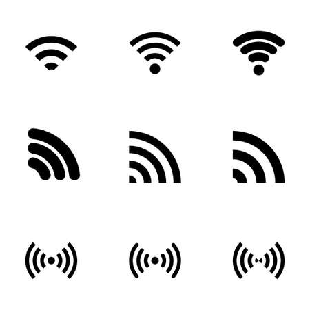 wireless icon set on white background Vector