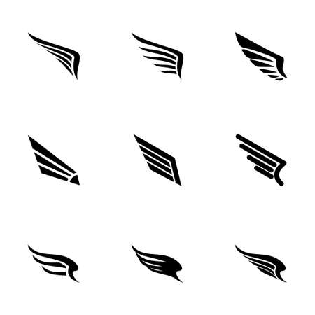 wings icon: wing icon set on white background