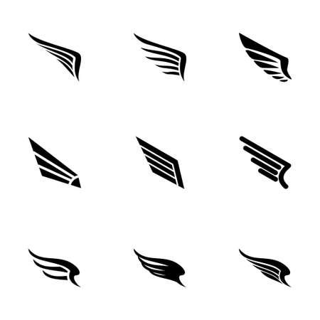 wing icon set op een witte achtergrond Stock Illustratie