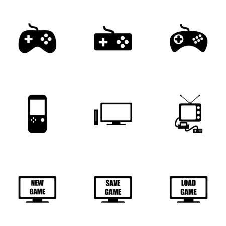 video game icon set on white background Иллюстрация
