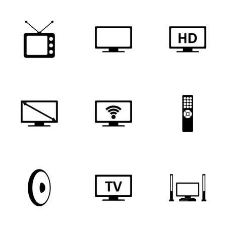 tv icon set on white background Иллюстрация