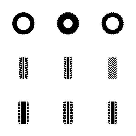 disk break: tire icon set on white background Illustration