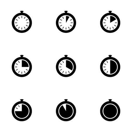 stopwatch icon set on white background Иллюстрация