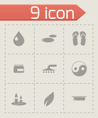 feet care: spa icon set on grey background Illustration