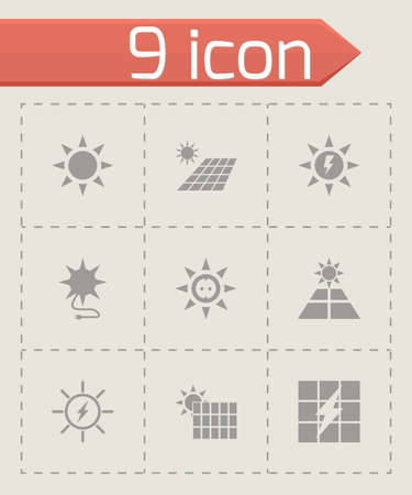 solar energy icon set on grey background Vector
