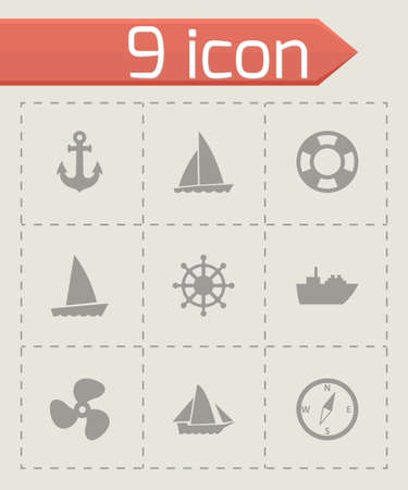 inflate boat: ship and boat icon set on grey background