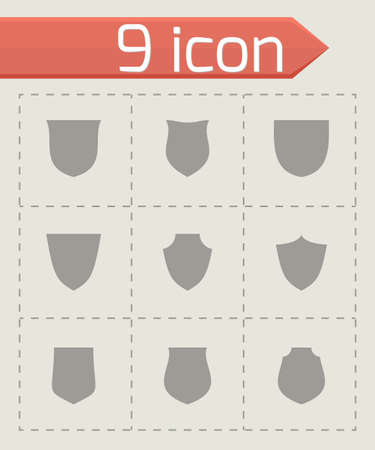 shield icon set on grey background Vector