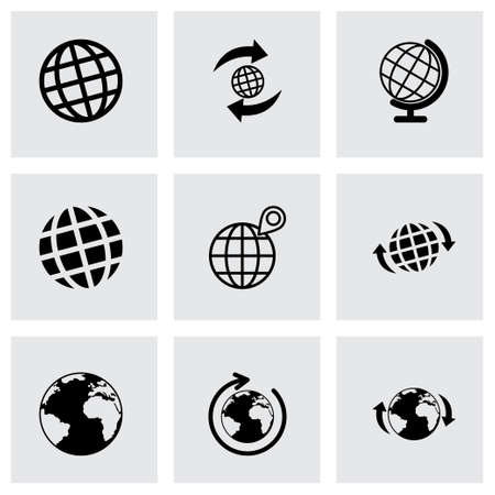 globe icon set on grey background Vector