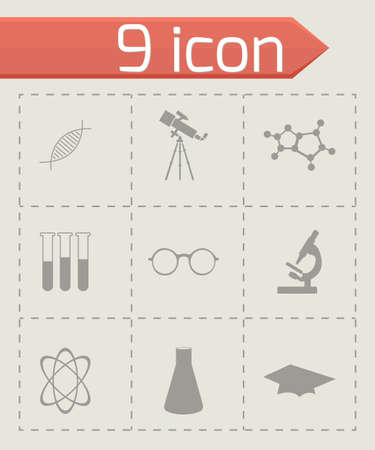 science symbols metaphors: science icons set on grey background