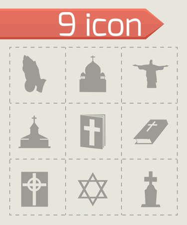religion icons set on grey background