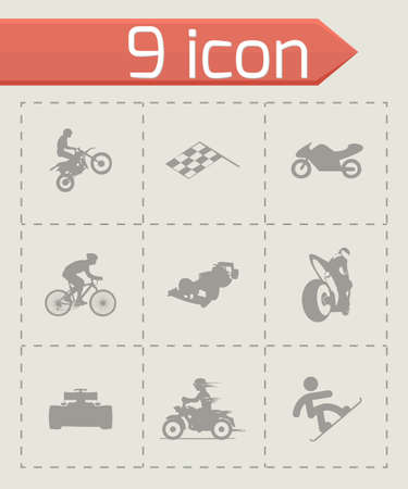 racing: racing icons set on grey background Illustration