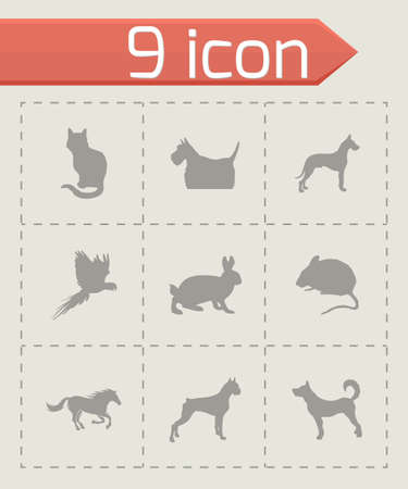 pet icons set on grey background Vector