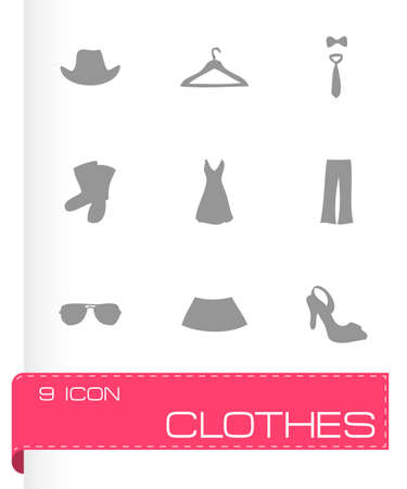 clothes icons set on white background Vector