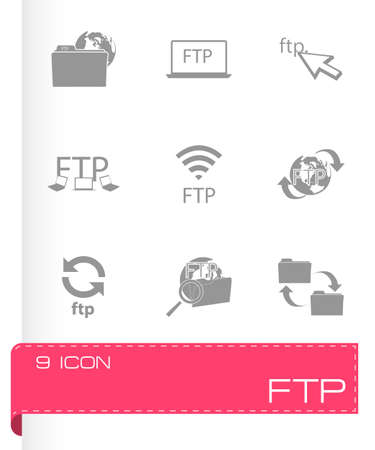 ftp: Vector FTP  icons set on white background